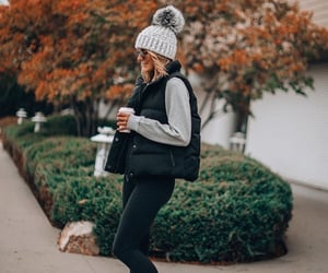 beanie, fall outfit, and coffee image