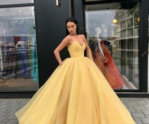 ball gown, yellow, and dress image