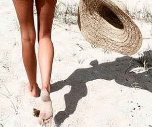 beach, hat, and fit image