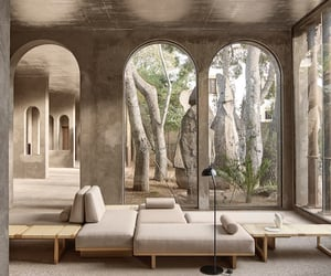 architecture, living room, and beige image