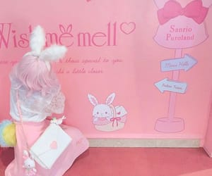 japanese girl, pink hair, and sanrio image