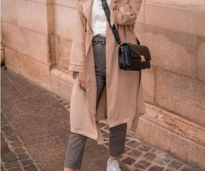 trench coat and checked pants image