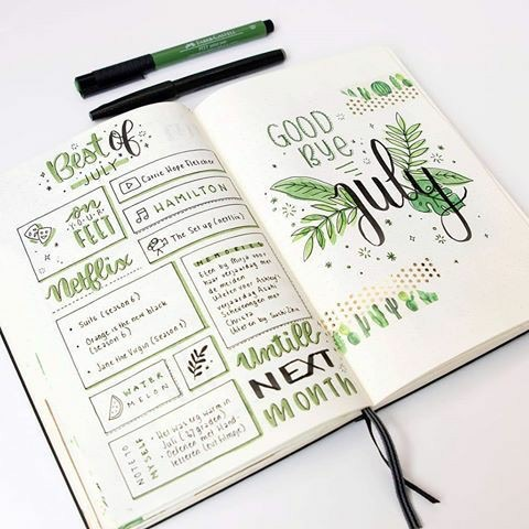 green, bullet journal, and july image