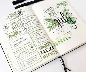 green, bullet journal, and writing image