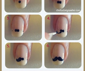 mustache, nails, and nails art image