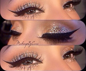 makeup, winged eyeliner, and winged liner image