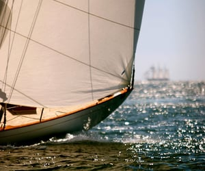 sea, boat, and sail image