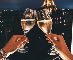 champagne, paris, and drink image