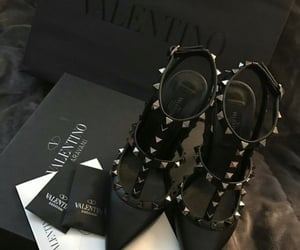 shoes, black, and Valentino image