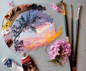 art, flowers, and colors image