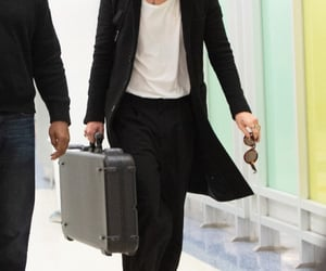airport, coat, and fashion image