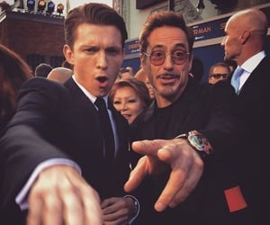 iron man, smiling, and spiderman image