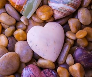 heart, stone, and beach image
