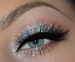 eye, glitter, and silver image