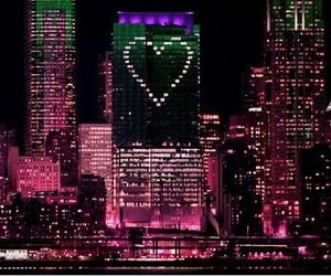 heart, city, and light image