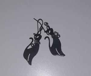 black, earrings, and black cat image