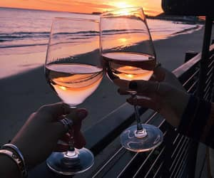 wine, sunset, and beach image