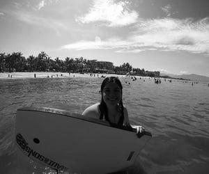 beach, sun, and blackandwhite image