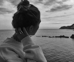 girl, sea, and b&w image