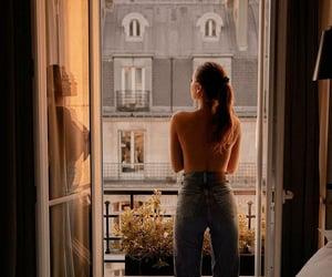 girl, balcony, and city image