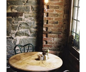 cafe, table, and bricks image