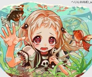 anime girl, fish, and water image