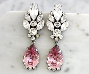 etsy, antique pink, and long earrings image