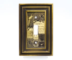 Art Nouveau, etching, and light switch plate image
