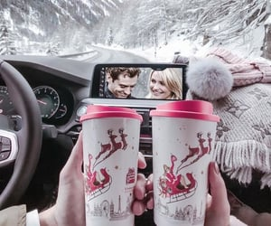 car, coffee, and snow image