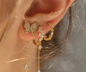 jewelry, butterfly, and earrings image