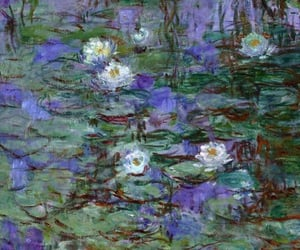 art, waterlilies, and flowers image