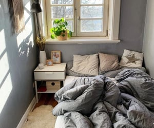 bed, bedroom, and sun image