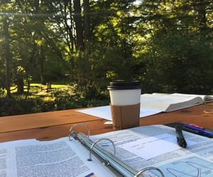 book, coffee, and high school image