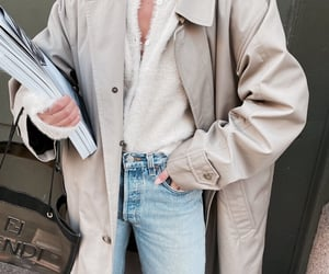 coat, jeans, and denim image