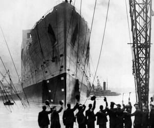 titanic, black and white, and history image