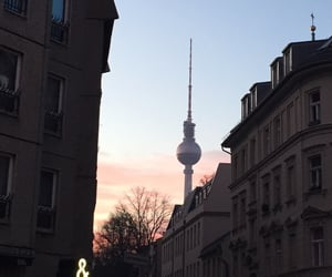 berlin, pink sky, and tv tower image