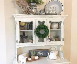 hutch, easter decor, and spring decorating image