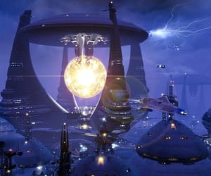 cyberpunk, futurism, and intergalactic image