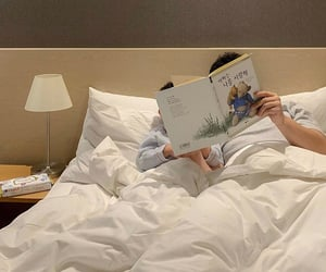 bed, book, and children image