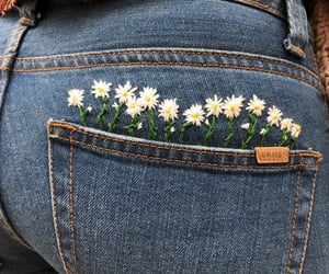 embroidery, flowers, and jeans image