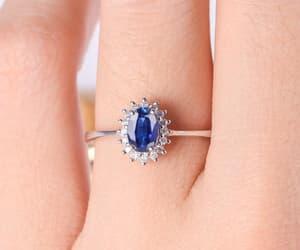 diamond, september birthstone, and halo ring image