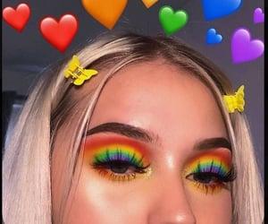 makeup, rainbow, and girl image