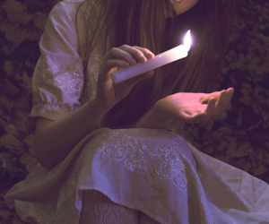 candle, girl, and light image