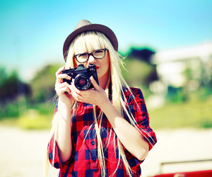 beautiful, camera, and girl image