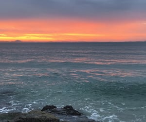 sky, ocean, and sunset image