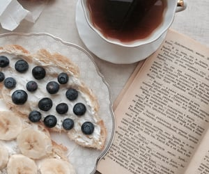 book, breakfast, and tea image