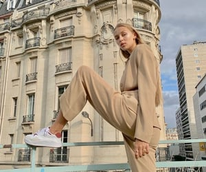 accessories, fit body, and beige suit image