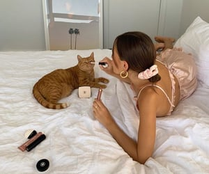 cat, makeup, and aesthetic image
