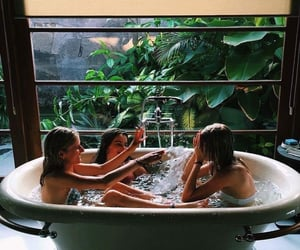 bath, tropical, and girls image