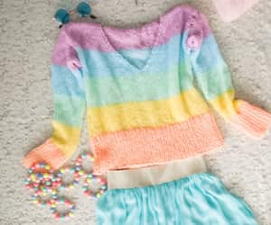 striped sweater, pastel goth sweater, and dreamy look outfit image